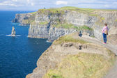 Girl at the Cliff of Moher — Stock Photo