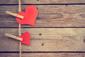 Two vintage hearts — Stock Photo