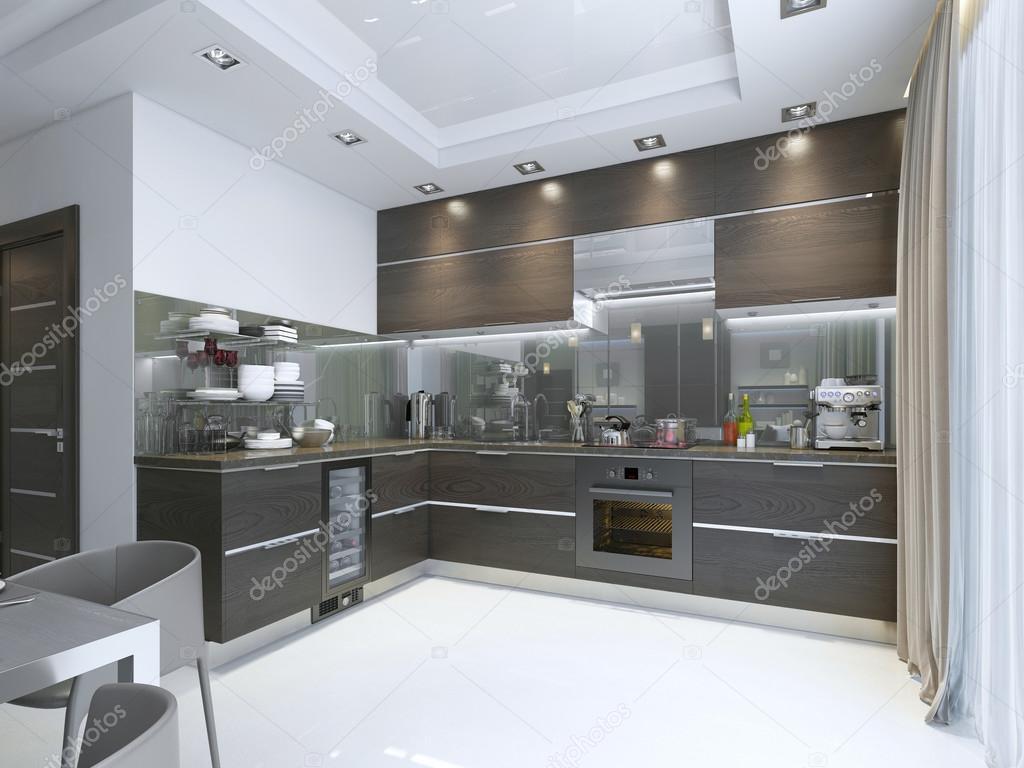 Kök modern i brunt med vita väggar och golv — stockfotografi ...