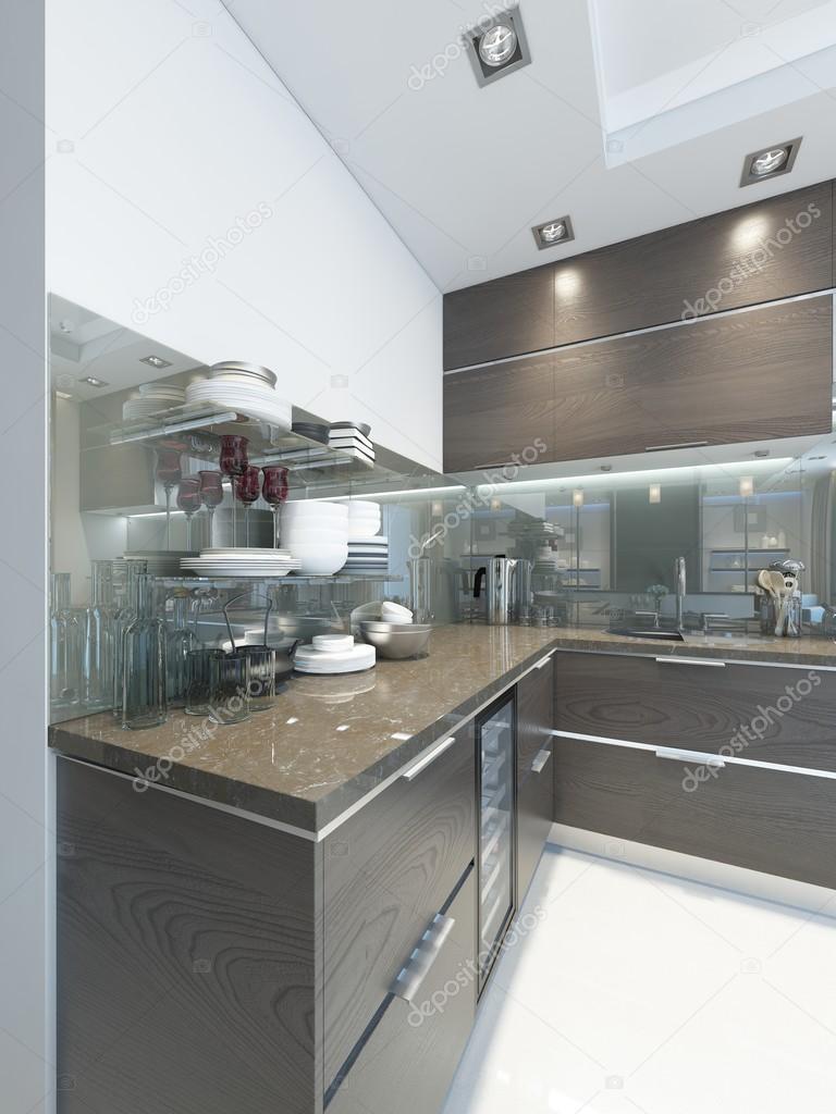 Kök-Contemporary i brunt med vita väggar och golv — Stockfotografi ...