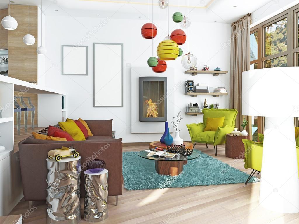 amplio living comedor de lujo en el estilo de kitsch