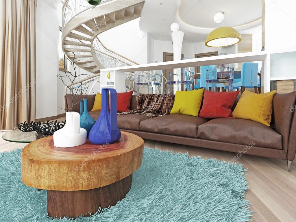Grande salle de s jour de luxe dans le style du kitsch for Salon kitsch