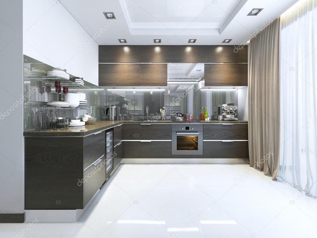 Keuken contemporary in bruin met witte muren en marmeren vloeren ...