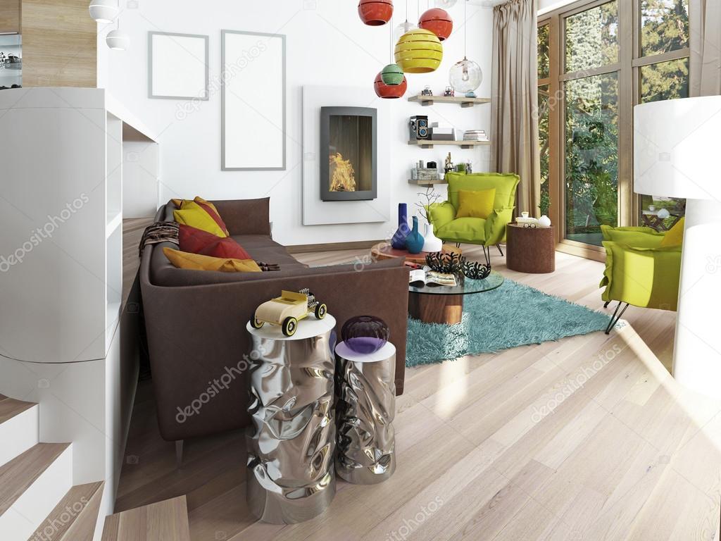 Ampio soggiorno di lusso in stile kitsch — foto stock © kuprin33 ...