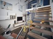 Teen room loft style — Stock Photo