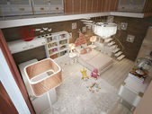 Girls bedroom modern style — Stock Photo