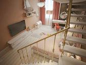 Girls bedroom marine style — 图库照片