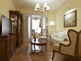 Anglický styl obývací pokoj — Stock fotografie