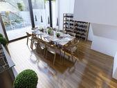 Bright modern dining room trend — Stock Photo