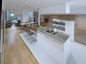 High-tech kitchen with dining room — Stock Photo
