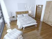 Modern bedroom with brown bed and white wall — Stock Photo