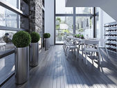 Contemporary dining with fireplace — Stock Photo