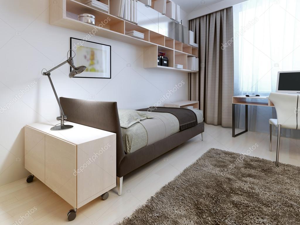 Modernt sovrum med vita väggar — Stockfotografi © kuprin33 #83413788