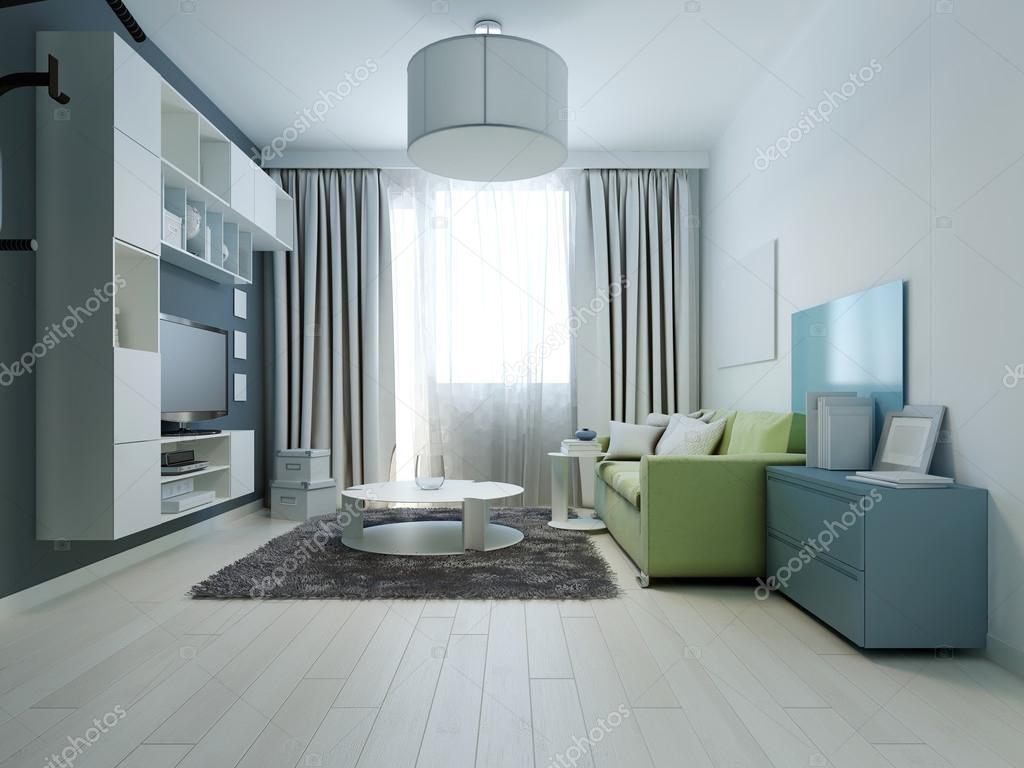 Design av ljusa färgade vardagsrum kitsch stil — stockfotografi ...