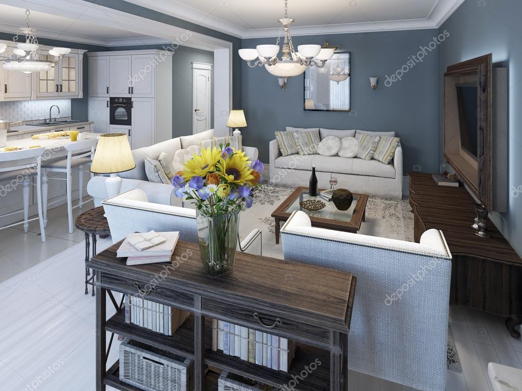 De mediterrane stijl woonkamer met blauwe muren — stockfoto ...