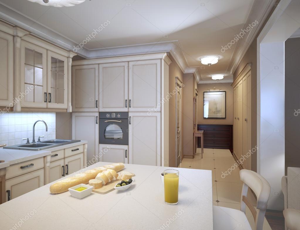 een traditionele keuken met witte kasten, marmeren werkbladen, witte ...