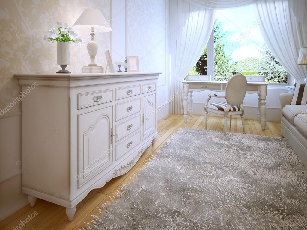 Witte dressoir in klassieke slaapkamer — stockfoto © kuprin33 ...