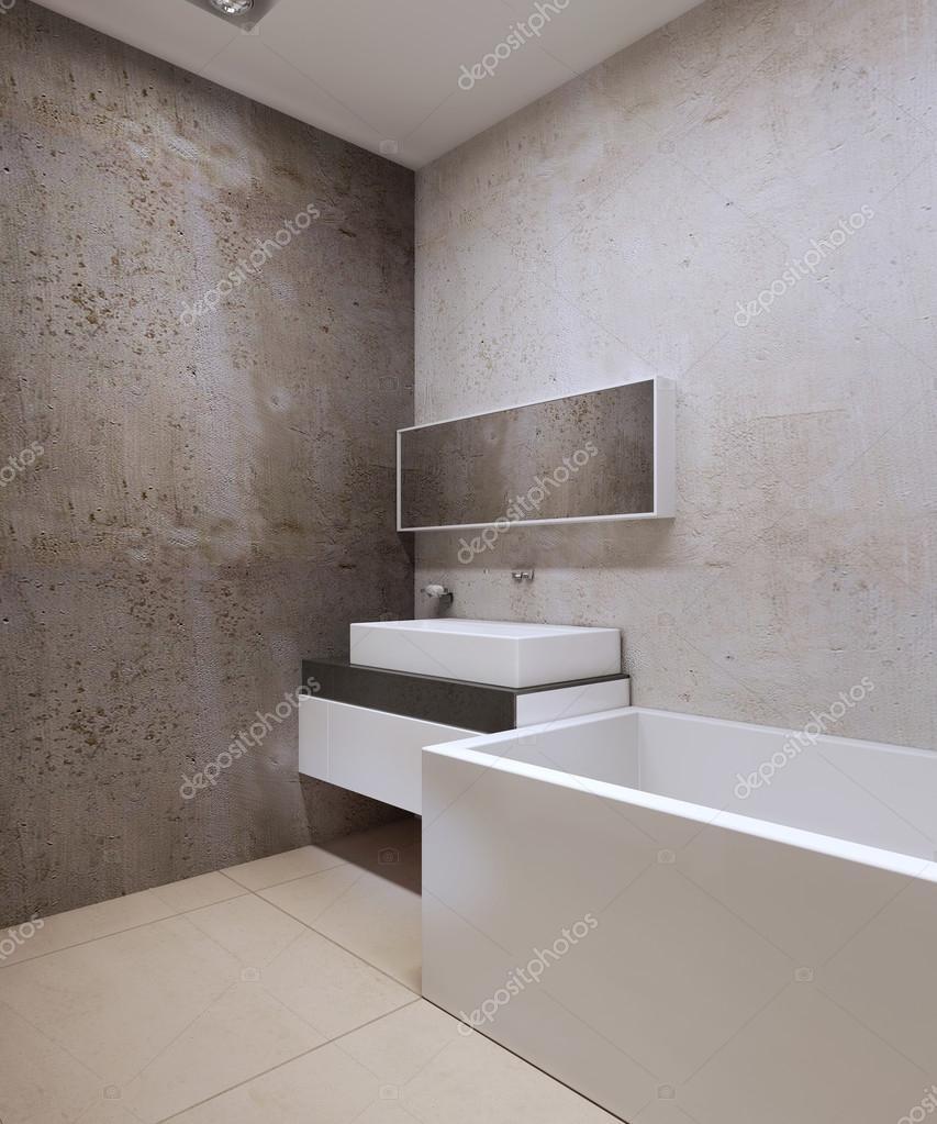 Badkamer techno stijl. Decoratieve beton getextureerde muren, crème ...