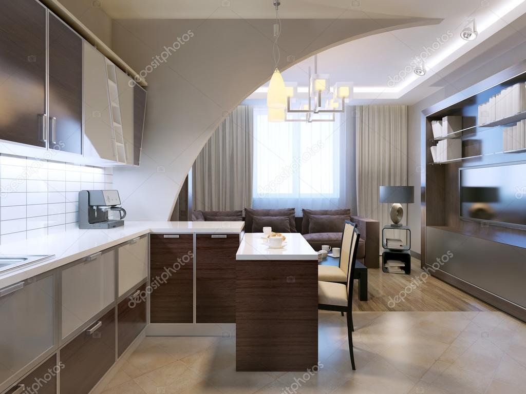 Glansigt minimalistiska kök med bar — stockfotografi © kuprin33 ...
