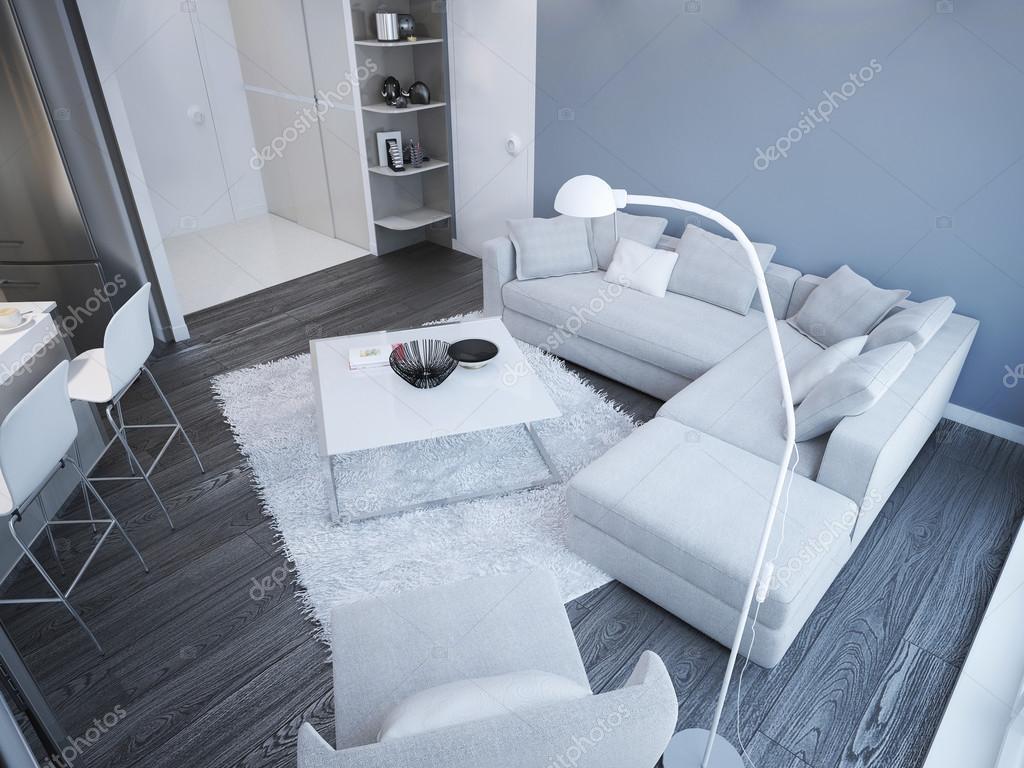 Idén med minimalistisk vardagsrum studio — stockfotografi ...