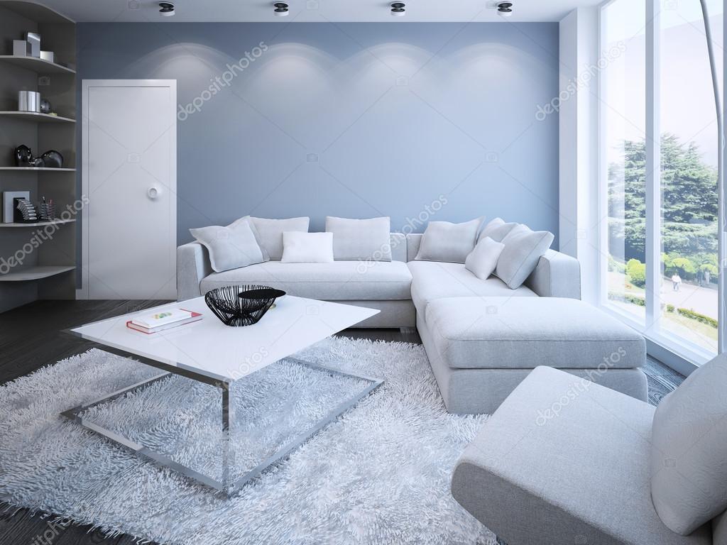 Eigentijdse lounge met blauwe muren — stockfoto © kuprin33 #83419600
