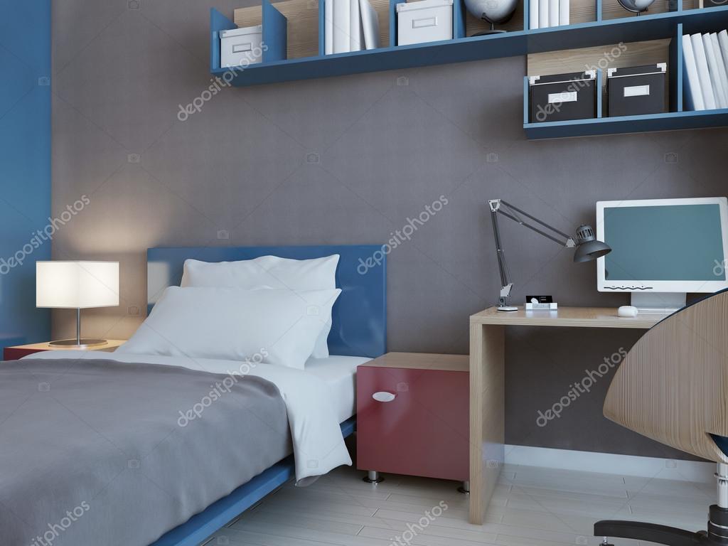 Sovrum i röd och grÃ¥ — stockfotografi © photographee.eu #114419968