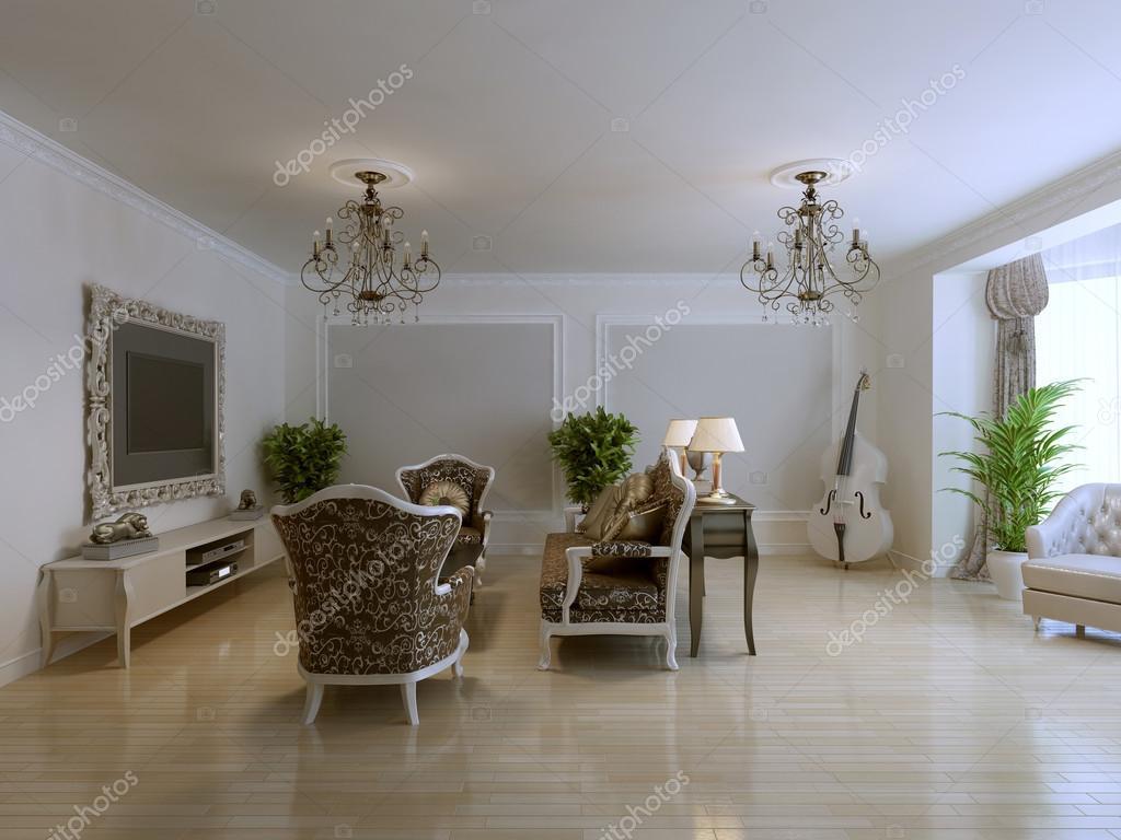 Ispirazione per soggiorno in stile classico di lusso for Piani di casa in stile adobe di lusso