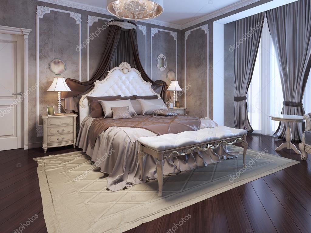 Downloaden - Luxe interieur van art deco slaapkamer. Exclusieve bed ...