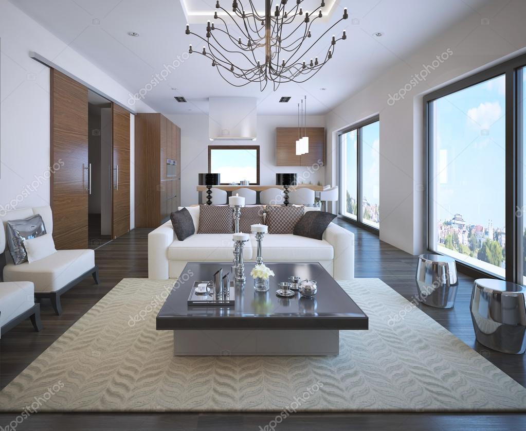 Kök och vardagsrum i ontoart lägenhet — stockfotografi © kuprin33 ...