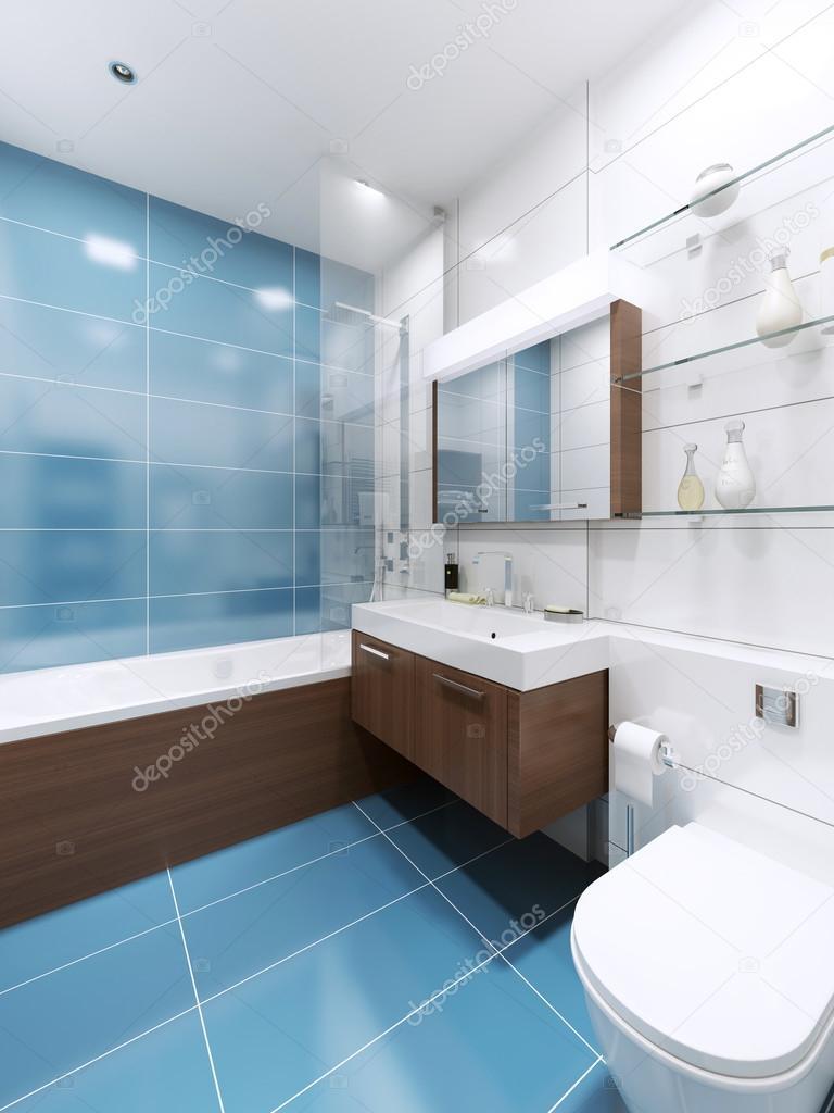 BlÃ¥ badrum inredning i privat hus — stockfotografi © kuprin33 ...