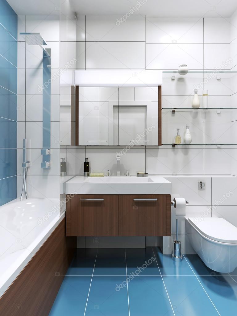 BlÃ¥ dyra badrum med blanka kakel — stockfotografi © kuprin33 #94645484