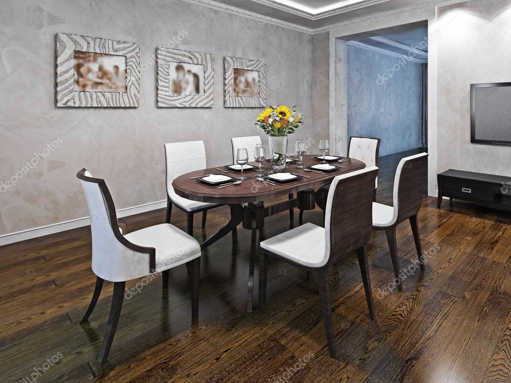 Ovalt matbord för sex person — stockfotografi © kuprin33 #94656112