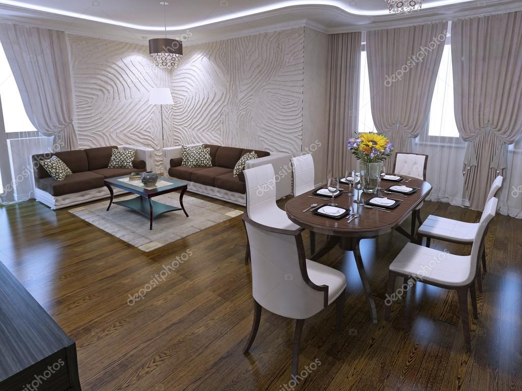 Vardagsrum med matbord i art déco design — stockfotografi ...