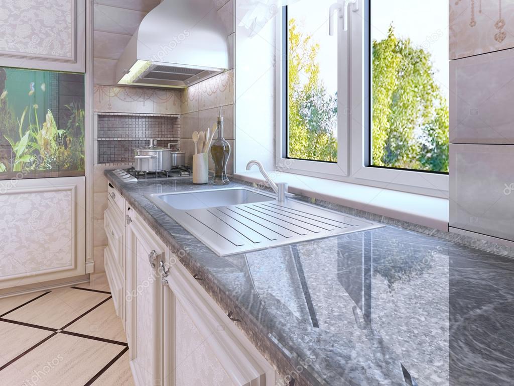 Disegno della cucina moderna. Armadi colorati ecrù — Foto Stock ...
