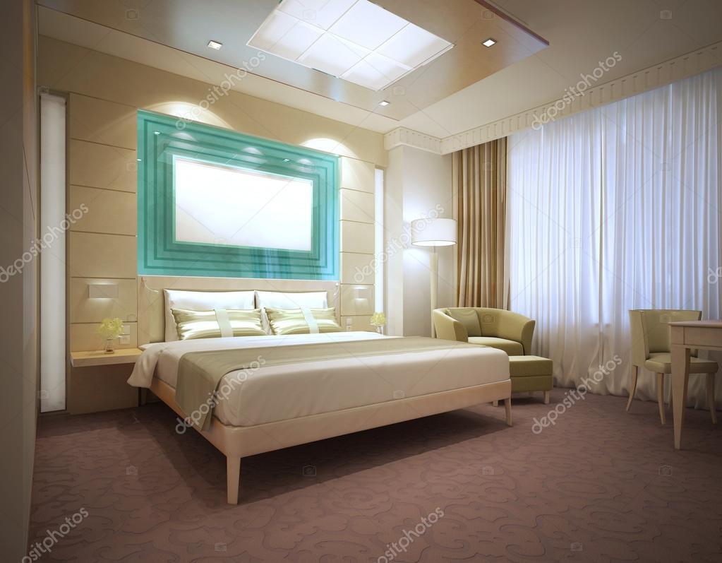 Quarto de hotel moderno de luxo em cores claras — Fotografias de Stock © kupr