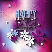 Cartão de aniversário de vetor com flores sobre fundo colorido. — Vetor de Stock