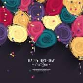 Vector colorful birthday card with paper balloons and wishes. — Cтоковый вектор