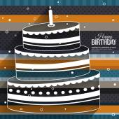 Birthday card with cake on stripes colorful background. — 图库矢量图片