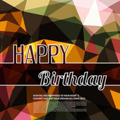 Colorful birthday wish on triangular background and text. — Stock Vector
