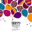 Vector colorful birthday card with paper balloons and wishes. — Stock Vector #57084059