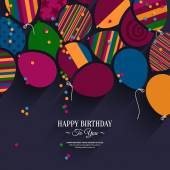 Vector colorful birthday card with paper balloons and wishes. — Stock Vector