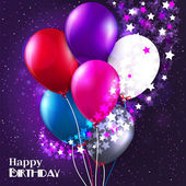 Vector birthday card with balloons and stars on galaxy background. — Stock Vector