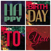 Vector birthday card with text on triangular background in comics pop art style. — Stock Vector