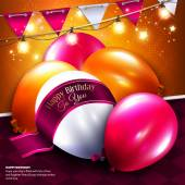 Vector birthday card with balloon, bunting flags and ribbon for your text. — Stock Vector
