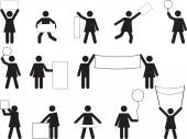 Woman pictogram holding blank banners — Wektor stockowy