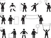 Woman pictogram holding blank banners — 图库矢量图片