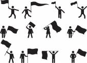 Pictogram people carrying flags — Stock Vector