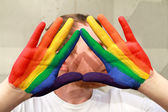 LGBT rainbow hands — Fotografia Stock