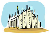 Milan, the Duomo of Milan — Stock Vector