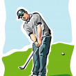 Golfer putting on the green — Stock Vector #60816887